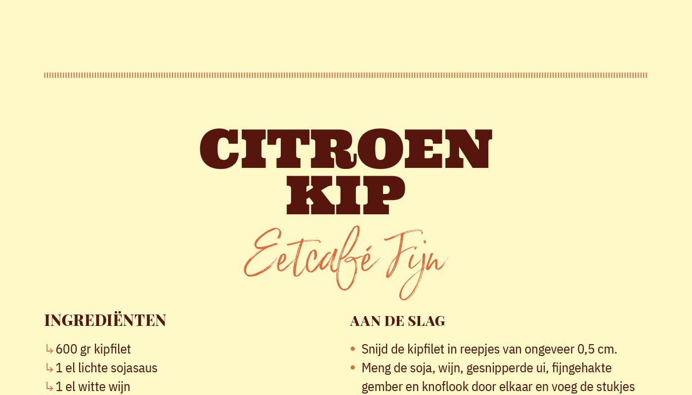 Citroen kip van  Eetcafé Fijn